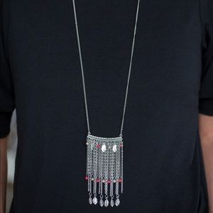 Feather tassel necklace and earrings